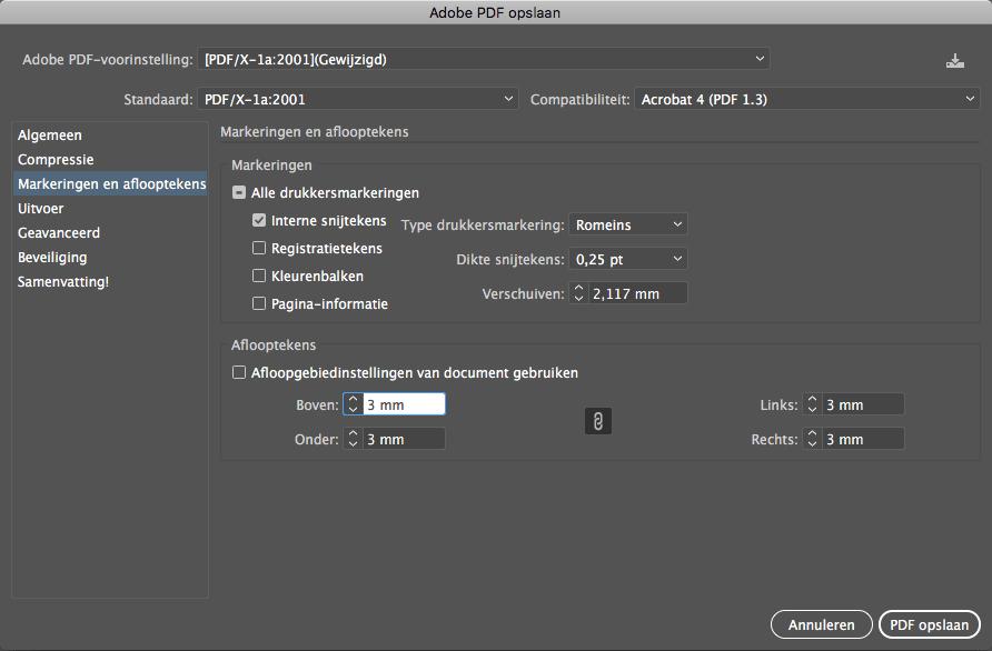 Afloop & Snijtekens Adobe Illustrator