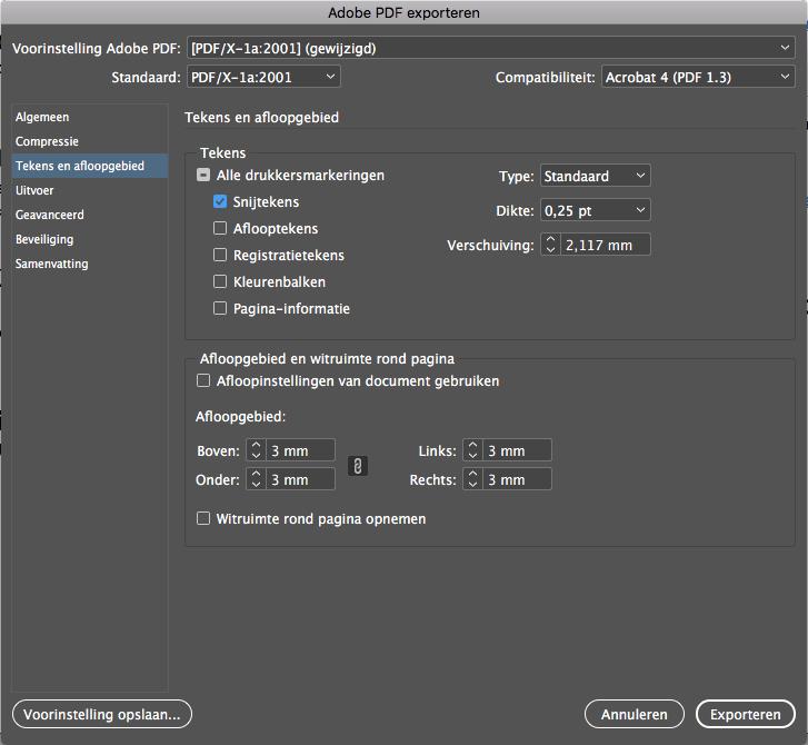 Afloop & Snijtekens Adobe InDesign